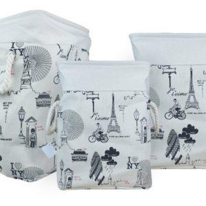 Laundry Basket Fabric Folding Set of 3-0