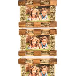 "Photo Frame Bamboo 3 Aperture 4x6""-0"