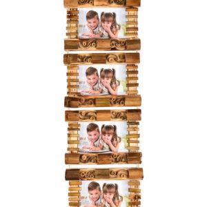"Photo Frame Bamboo 4x6"" Holds 4 Photos-0"