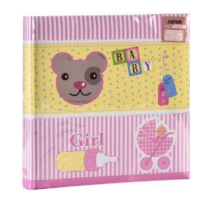 """Photo Album Baby Girl Pink 6""""x4'' , 200 Hold Slip in Memo Album-0"""