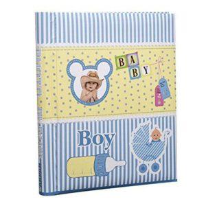 Photo album baby boy self adhesive 20 sheets spiral bound blue -0