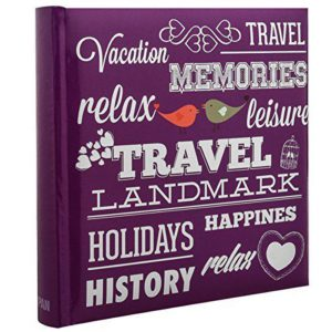 Photo album 6x4'' x 200 hold purple travel slip in memo album x 2-0