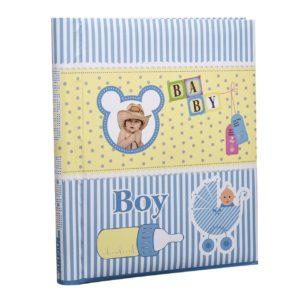 Photo album baby boy self adhesive 20 sheets spiral bound blue album x 2-0