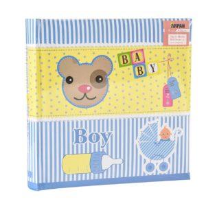 Photo album baby boy blue 6x4'' x 200 hold memo slip in album-0