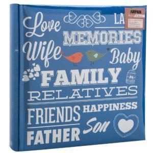Photo Album Slip in Memo Blue Family 6x4'' x 200 Holds x 4-0