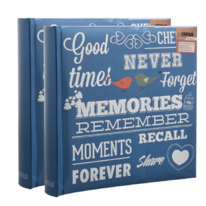 Photo album blue memories 6x4'' x 200 hold slip In memo album x 2-0