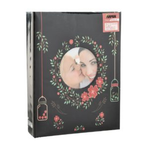 """Photo Album 4x6"""" Slip in Black Floral 200 Photos -0"""