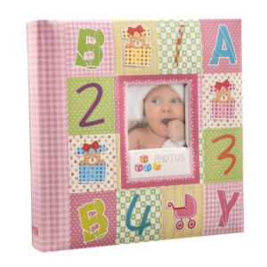 Photo album 6x4'' x 200 hold slip in memo alphabet number pink album-0