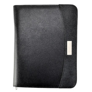 A5 Zipped Business Executive Conference Folder With Calculator & Pad Ring Binder Portfolio - Black-0