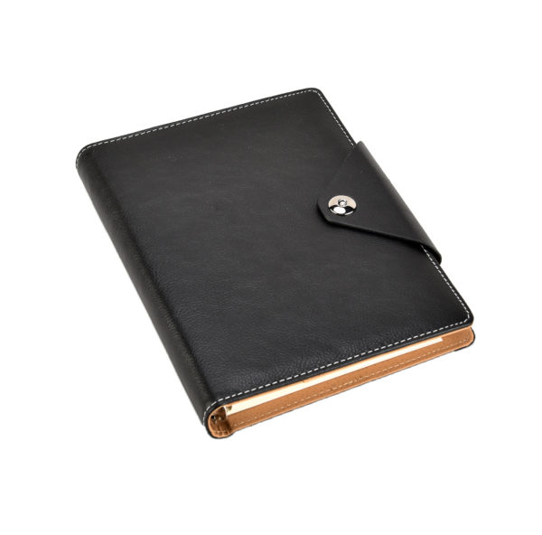 A5 Executive Personal Organiser with Stud Button Black -4117