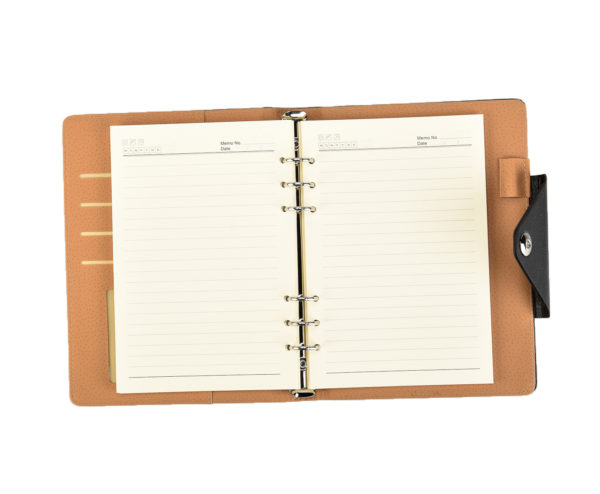 A5 Executive Personal Organiser with Stud Button Black -4119
