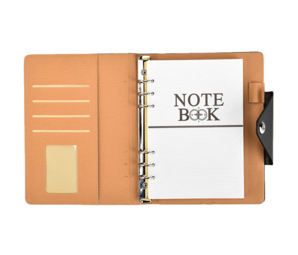A5 Executive Personal Organiser with Stud Button Black -4121