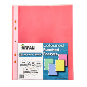 A5 Multi Coloured Punched Ring Binder File Pockets 104 Sleeves-0