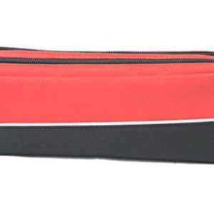Double zip fabric pencil case red-0