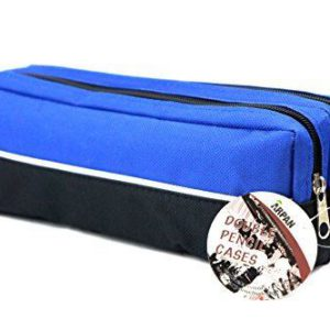 Double zip fabric pencil case blue-0