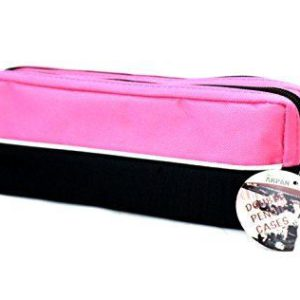 Double zip fabric pencil case pink-0
