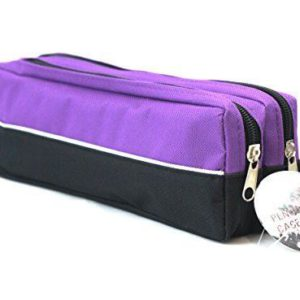 Double zip fabric pencil case purple-0