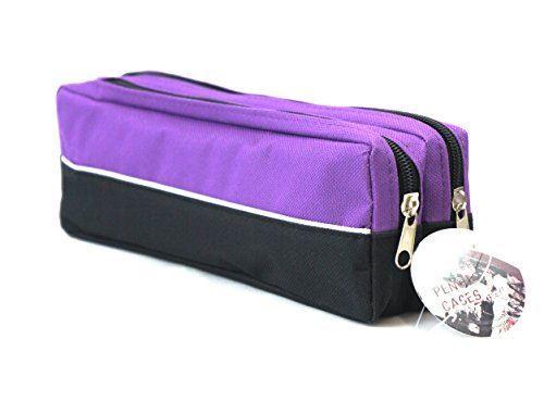 Double zip fabric pencil case purple-0
