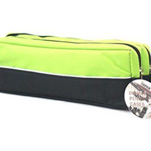 Double zip fabric pencil case lime green-0