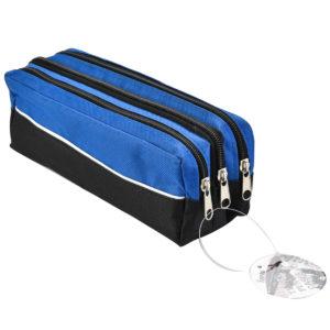 Triple Zip Rectangular Fabric Pencil Case Blue-0