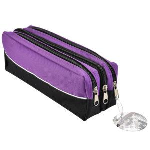 Triple Zip Rectangular Fabric Pencil Case Purple -0