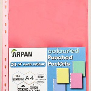 A4 Multi Coloured 104 Transparent Punched Sleeves-0