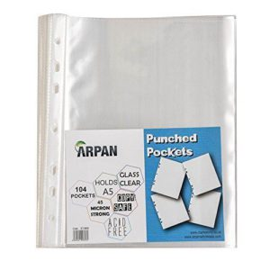 A5 clear transparent poly punched pockets wallets 104 sleeves-0