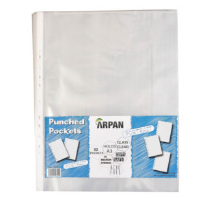 A3 Portrait Plastic Poly Pockets Wallet Sleeves Clear Pack of 52-0