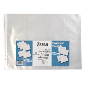 Arpan A3 landscape strong plastic poly pockets wallet sleeves clear finish - pack of 26-0
