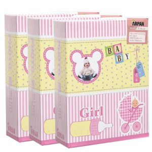 photo album pink baby girl 6 x 4'' slip in album x 3 -0