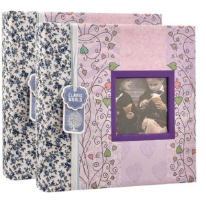 Photo album 6 x 4'' x 200 hold wedding memo book floral photo albums x 2 -0