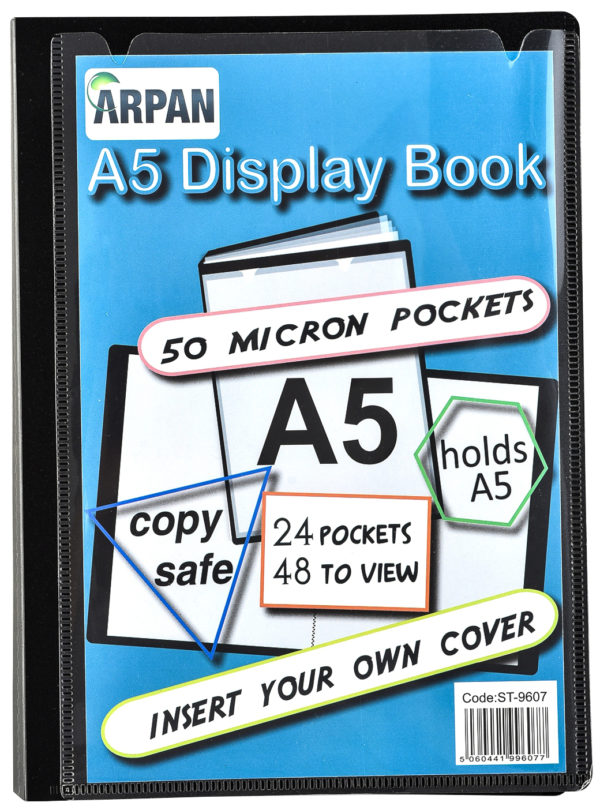 Display Book A5 24 Pockets Presentation Folder Black Pack 6-4824