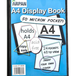 Display Book A4 24 Pockets Presentation Folder Black -0