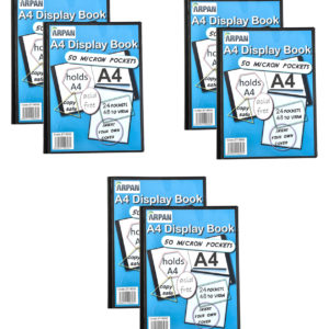 Display Book A4 24 Pockets Presentation Folder Black Pack 6-0