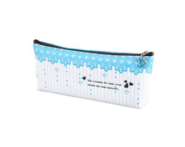 Pencil case with clousre blue-4789