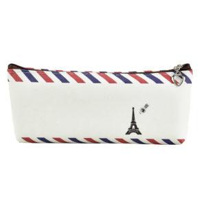 Pencil case with zippe closure cream-0