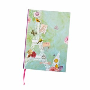 Vintage Notebook Eiffel Tower Shabby Chic Gift School Girls/Boys Ruled Notebook[A5 -BLUE]-0