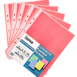 A5 Multi coloured transparent poly punched pockets 104 sleeves pack 5-0