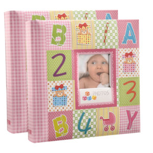 Photo album 6x4'' x 200 hold slip in memo alphabet number pink album x 2-0