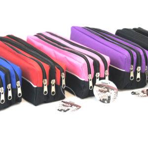 Triple Zip Rectangular Fabric Pencil Case-0