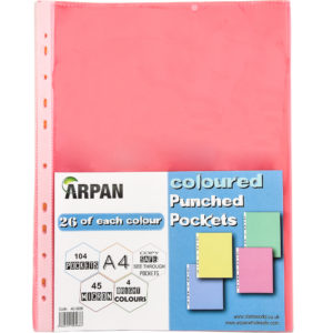 Punch Pockets A4 Multi Colour 104 Wallets Pack 2-0