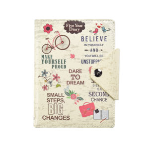 Undated Five Year Organiser Diary A5 Cream Slogan Art-0