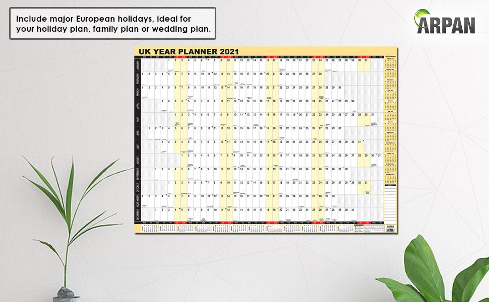 2021 Year Wall Planner A1 Laminated Yearly Wall Planner ...
