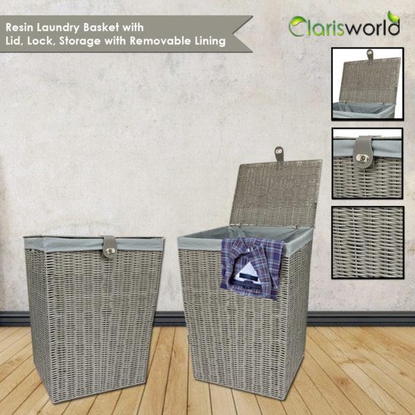 Resin Laundry Basket Bin Grey-7496