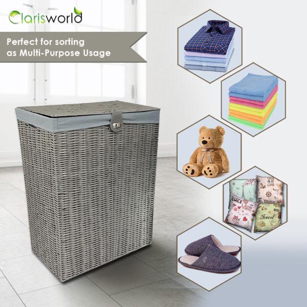 Resin Laundry Basket Bin Grey-7498
