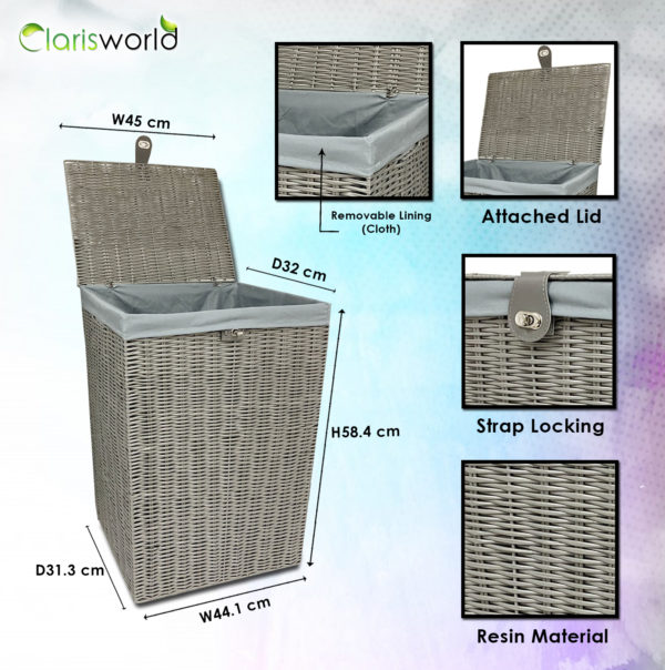 Resin Laundry Basket Bin Grey-7502