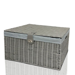Resin Storage Chest Trunk with Lining Locked Grey-0