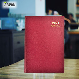 A4 2021 Day a Page Diary Burgundy-0