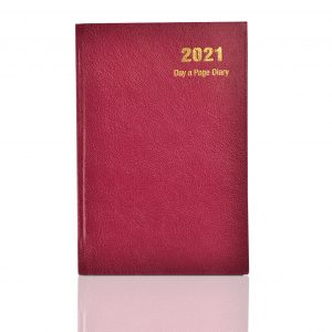 A5 2021 Day a Page Diary Burgundy-0